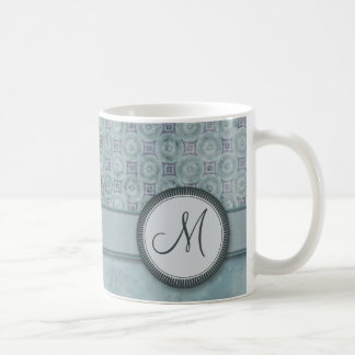 Denim Blue Coin Pattern with Monogram Coffee Mug
