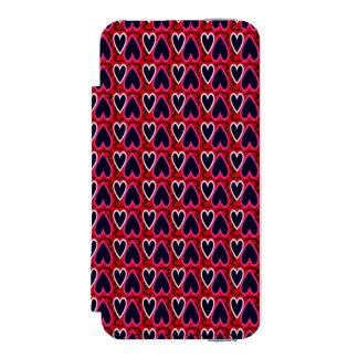 Denim Blue Hearts Pattern Incipio Watson™ iPhone 5 Wallet Case