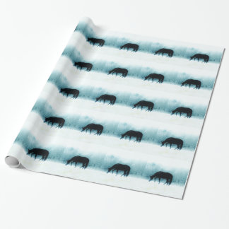 Denim blue horse in the fog wrapping paper