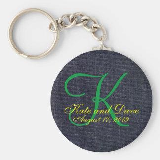 Denim Blue Jean 3d Monogram Basic Round Button Key Ring