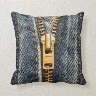 Denim Blue Jeans Print Accent Pillow