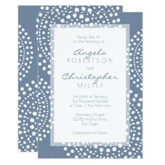 Denim Blue Modern Boho Wedding Card