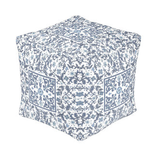 Denim Blue Ornate Design Pouf