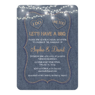 Denim Blue String Lights I DO BBQ Card