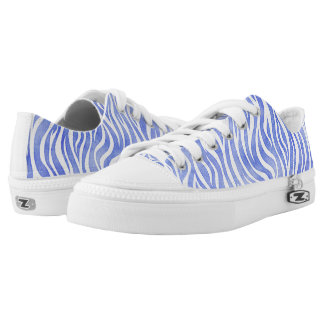 Denim Blue Watercolor Zebra Print Low Tops