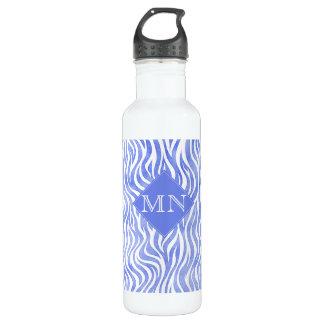 Denim Blue Watercolor Zebra Print   Monogram 710 Ml Water Bottle