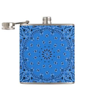 Denim Blue Western Bandana Scarf Fabric Wrap Hip Hip Flask