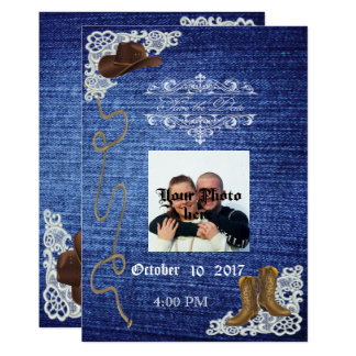 Denim, Boots & Lace Rustic Save The Date Card