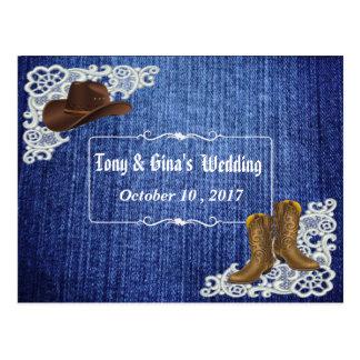 Denim Boots & Lace Wedding RSVP Postcard
