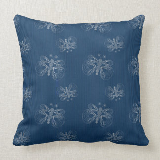 Denim butterfly pattern throw pillow