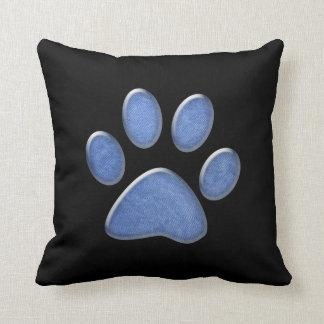 denim cat paw print throw pillow