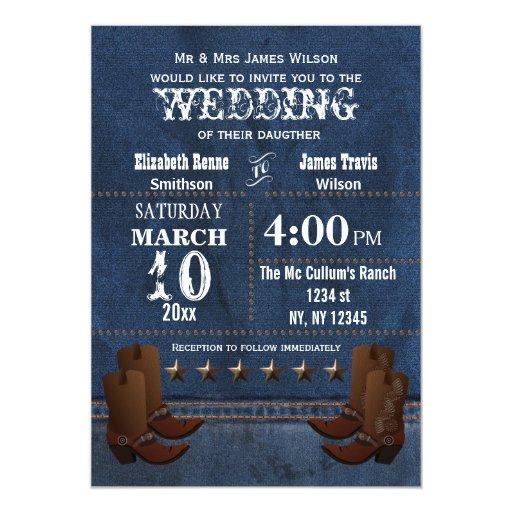 "Denim Cowboy Boots Stars Western Wedding Invite 5"" X 7"