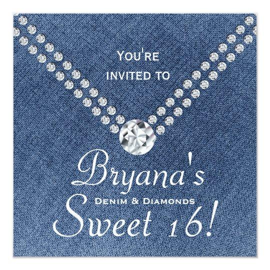 Denim Diamonds Bling Envelope Sweet 16 Invitation