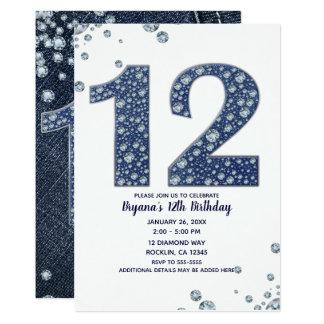 Denim & Diamonds Bling Sparkle 12th 12 Birthday Card