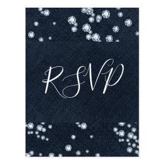 Denim & Diamonds Blue Jeans Bling Glam RSVP Postcard