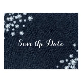 Denim & Diamonds  Glam Party Save the Date Postcard