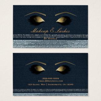 Denim Diamonds Gold Makeup Eyelashes Beauty Spa Business Card