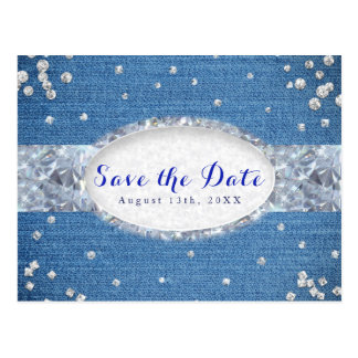 Denim & Diamonds Scattered Bling Save the Date Postcard