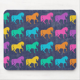 Denim Glitter Horses Design Mouse Pad