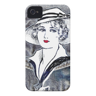 Denim/jean design & vintage ladies fashion print iPhone 4 case