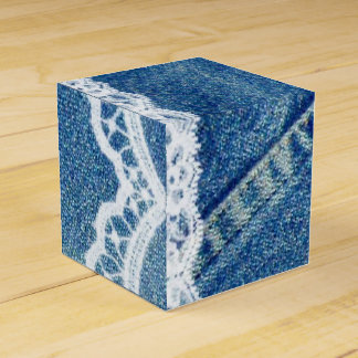 Denim & Lace Printed Wedding Favor Boxes Custom