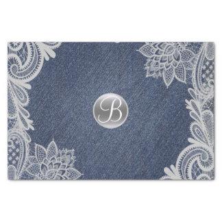 Denim & Lace Rustic Glam Elegant Monogram Initial Tissue Paper