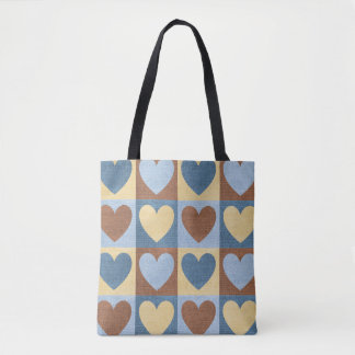 Denim-Linen Small Hearts-Blue-Handbag-Totes Tote Bag