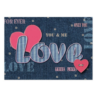 Denim Love. Valentine's Day Gift Tag Business Card Templates