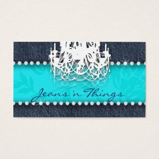 Denim n Diamonds Chandelier Floral Turquoise Blue