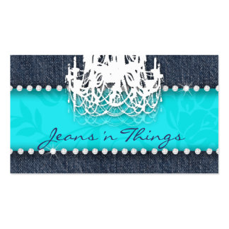 Denim n Diamonds Chandelier Floral Turquoise Blue Business Card Templates
