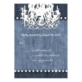 Denim n Diamonds Wedding Response Card Chandelier Business Card Templates