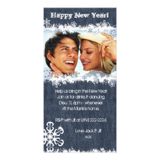 Denim New Year's Party Christmas Snowflake Photo Card