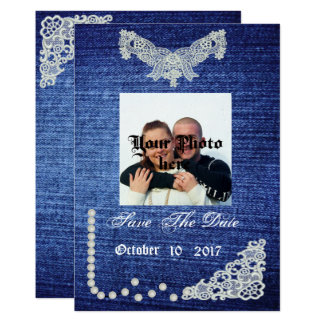Denim, Pearls & Lace Save The Date Card