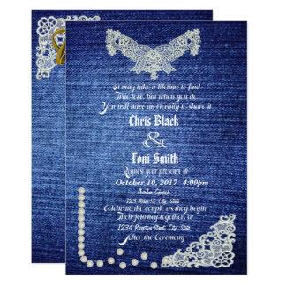 Denim, Pearls & Lace Wedding Invite