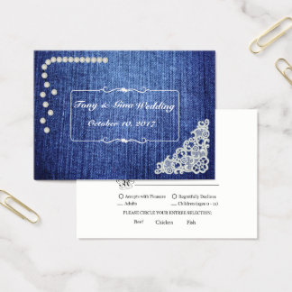 Denim Pearls & Lace Wedding RSVP Card