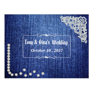 Denim Pearls & Lace Wedding RSVP Postcard