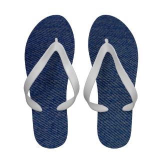 Denim print flip flops