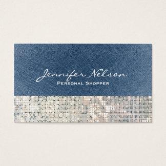 Denim Sequin Glitter Glamour Glitz Business Card