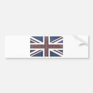 Denim Texture Pattern Union Jack British(UK) Flag Bumper Stickers