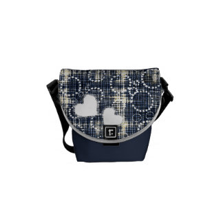 Denim Torn hearts and circles  Messenger bags
