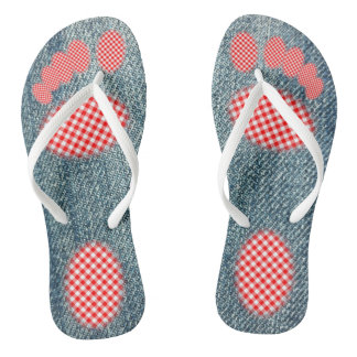Denim with Red Gingham Footprint Thongs