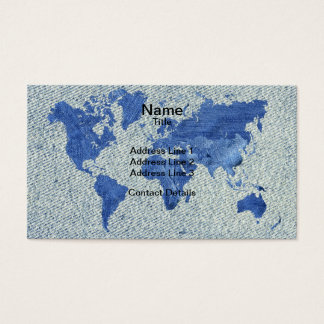 Denim World Map Business Card