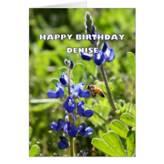 Denise Texas Bluebonnet Happy Birthday Greeting Card
