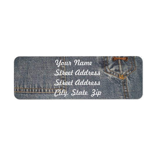 Denium Fabric Background Return Address Sticker