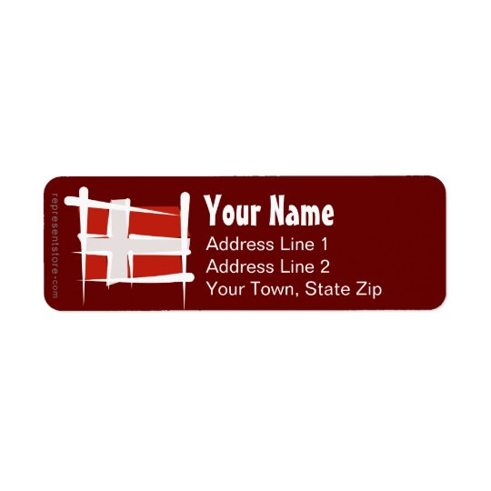 Denmark Brush Flag Return Address Label