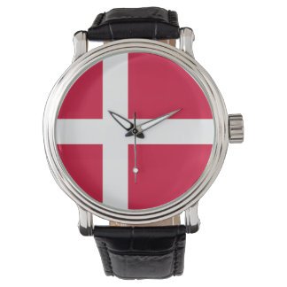 Denmark country flag symbol long watch