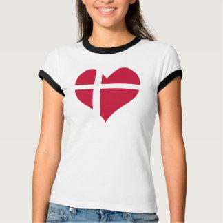 Denmark Flag Heart T-Shirt