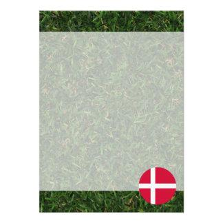 Denmark Flag on Grass 13 Cm X 18 Cm Invitation Card