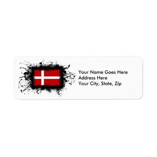 Denmark Flag Return Address Label