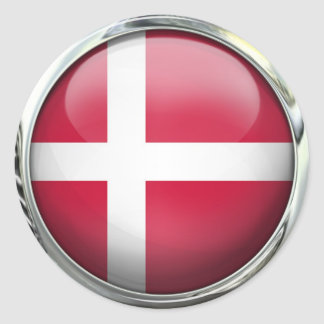 Denmark Flag Round Glass Ball Classic Round Sticker